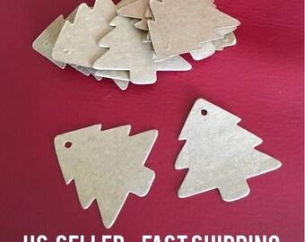 Set of 20 Christmas tree xmas kraft paper gift tags