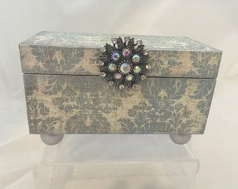Blue Damask Decorative Box