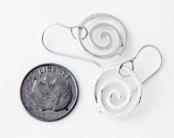 Spiral jewelry, silver jewelry- silver earrings, small spiral earrings, swirls