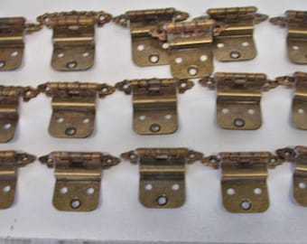 Vintage Lot Of 16 Brass Cabinet Hinges Mid Century Modern Style Lot no. 947