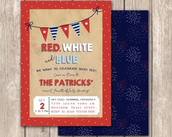 Fourth of July Party Invitation, Birthday Party, July Fourth Invitation, Neighborhood Party, Block Party Invite, Fourth Invite, Baby Invite