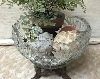 Vintage Crystal Bowl Brass Footed Crystal Bowl Crystal Compote Crystal Fruit Bowl