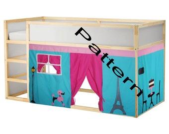 Paris Inspired bed Playhouse Pattern / Kura bed playhouse / Bed curtain pattern
