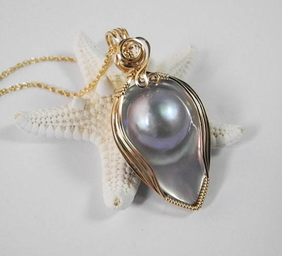 Mabe Pearl Necklace: Mabe Pearl Necklace Blister Pearl Pendant Pearl Wedding