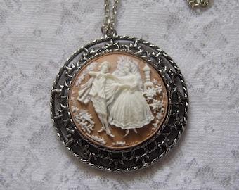 Victorian Dancers Necklace Cameo Pendant Edwardian Art Deco Round Silver