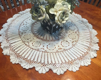 Vintage 31 inch Ivory Hand Crochet doily for housewares, home decor, pillows, christmas, holiday, bags by MarlenesAttic