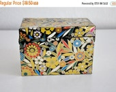 ON SALE Hippie Flowers 60s  Shiny Metal Recipe Tin Box