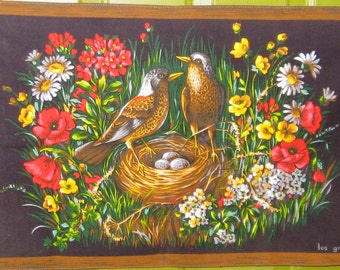 French France Bark Cloth Birds Kitchen Dish Tea Towel ~ Les Grives (Thrushes)