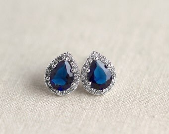 Bridesmaid Earrings - Bridal Earrings - Cubic Zirconia Crystal - Teardrop Stud Earrings - Sapphire Blue - Wedding Jewelry