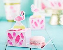 Mini Printable Flamingo Favor Box, Macaron Favor Box, Jelly Bean Treat Box, DIY Flamingo Party Favor, Instant Download