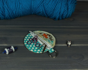 Stitch Marker Pouch; Small Round Zipper Pouch; Blue with Koi (small)