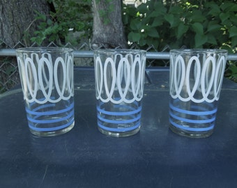 "Drinking Glasses Set of Three Vintage Blue White Nautical Retro Barware Mid Century 3 1/2"" Tall"