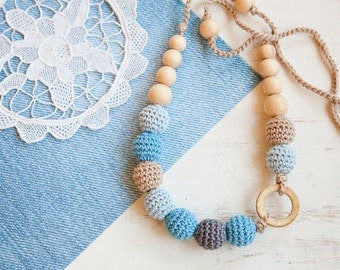 Coconut ring nursing necklace  - blue grey - Sling Accessory - breastfeeding necklace - Crochet Jewelry for New Moms