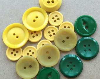 vintage eco friendly basic simple john deere yellow, greenish yellow, and bright green buttons for sewing or crafting--mixed lot of