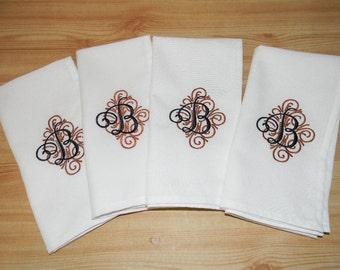 ELEGANT MONOGRAMMED NAPKINS. Set of Four Napkins. Dinner Napkins. Holiday Napkins. White  or Black Cloth Napkins. 26 Letters Available