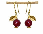 Pomegranate Earrings, Judaica earrings, Hanukkah gift.  22k gold vermeil or sterling silver leaves.