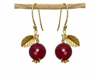Pomegranate Earrings, Judaica earrings, Hanukkah gift.  22k gold vermeil or sterling silver leaves.