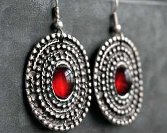 Hhines Silver Earrings Tribal Earrings Boho Jewelry