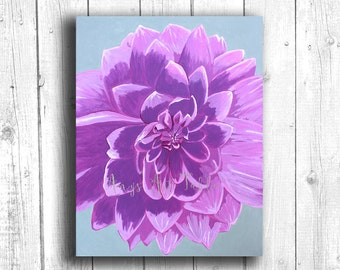 Purple Dahlia Painting Digital download, Printable original art, Digital 8x10 art printable