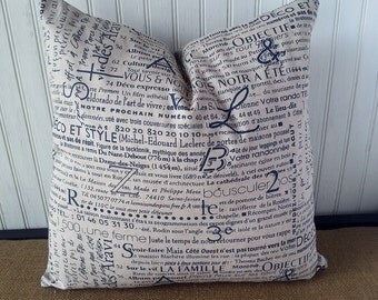 French Pillow - French Script Pillow Cover  -  Decorative 18 x 18 Zippered French Pillow - French Decor -  French Country