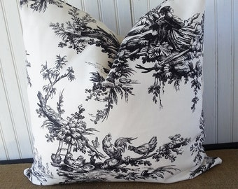 Black And White Toile Pillow - French Pillow Cover - French Country - Toile Pillow - Black Toile - Zippered Pillow Cover