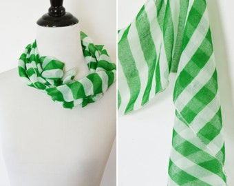 Vintage Sheer Green Striped Cotton fashion scarf- ladies green neck scarf- sheer spring scarf- green and white striped scarf