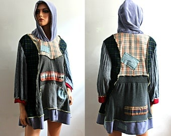 Upcycled Clothing Bohemian Hoodie Tunic Sweater Top with Kangaroo Pocket Plaid Grey Green Fall Winter Recycled Plus Size 1x