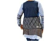 Lagenlook Vest, Bohemian Vest, OOAK Handmade Vest, Layered Clothing, Upcycled Clothing, Denim Vest, Layered Asymmetric Top, SALE - 25% Off