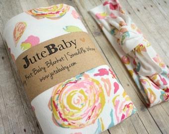 Romantic Flower Swirl Baby Blanket | Designer Baby Blanket in Flower Swirl by JuteBaby