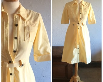 70's YELLOW SHIRT DRESS - Butter Cream // Safari Style // Classic // Summer // Size Small