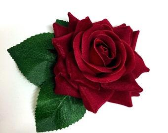 Mini Red velvet rose hair flower clip