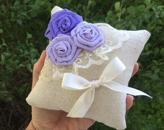 "5"" x 5"" Natural Cotton Ring Bearer Pillow with Rosettes, Lace & Ribbon- Choose Your Rosette Colors-Wedding-Beach Wedding-Garden Wedding"