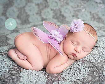 Butterfly Wings, Baby Headband, Photography Prop - Lilac Buttetfly Wings with Gold Sequins and Matching Rhinestone Pearl Headband