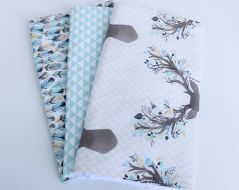 Ready to Ship! Burp Cloth Set - Set of 3 Cotton/Terry Burp Cloths - Stag