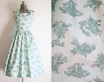 1950's Green Cotton Halter Dress / Size Medium