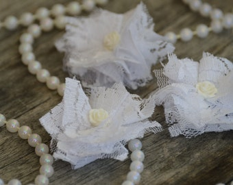 "Set of 3 Lace Flower, Fabric Flower, White Lace Flower,  2"" Lace Fabric Flower, Fabric Flowers, Lace Flowers, Ballerina Lace Flower"