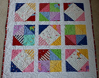 Homemade Patchwork Baby Quilt - Baby Shower Gift - Baby Quilt - Baby Blanket - FREE SHIPPING
