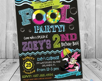 Minnie Mouse Pool Party Invitation, Printable Minnie Mouse Pool Party Invite