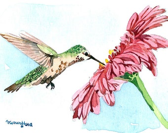 ACEO Limited Edition 2/25- Tasting summer, Hummingbird and gerbera, Bird art print of an original ACEO watercolor, Gift idea for bird lovers