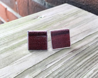 Solid 925 Sterling Silver Cufflinks with Purple Heart Wood Inlay Handmade