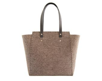 30% OFF - Extra large Felt TOTE BAG / grey felt tote bag / grey felt shopper / felt shoulder bag / carry all bag / made in Italy