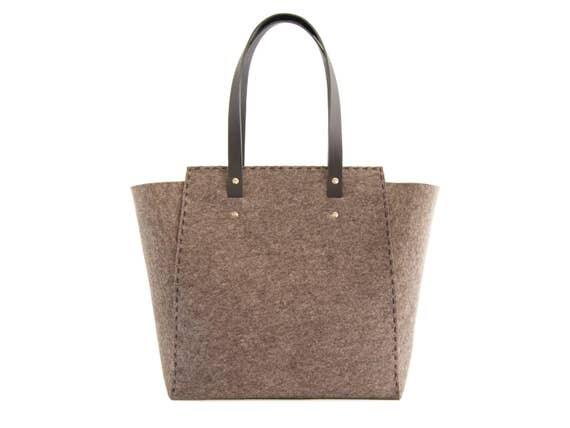 Extra large Felt TOTE BAG / grey felt tote bag / grey felt shopper / felt shoulder bag / carry all bag / made in Italy