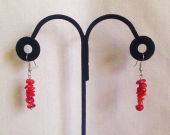 Red Bamboo Earrings