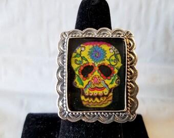 """Dia de los Muertos"""" ~~Day of the Dead~~ Sugar Skull 925 Nicho Ring~~Adjustable Size 7"""