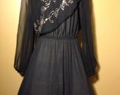 Vintage 80's Black Party Dress - Large/Plus Size - Free Shipping