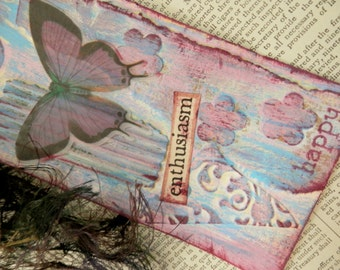 "ART/JOURNAL/INSPIRATION Tag - Collage with Book Text Snippet - ""Enthusiasm - Happy""  One-of-a-Kind"