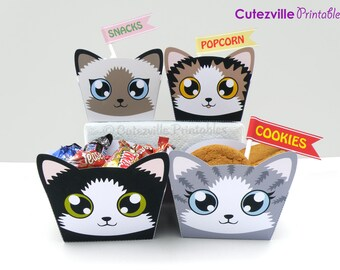 PDF Printable Kitty Cat Snack Boxes / Gift Baskets With Editable Text - INSTANT DOWNLOAD