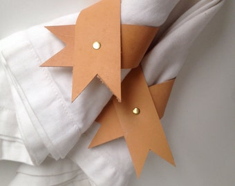 Napkin Ribbon made with Recycled Leather and Brass