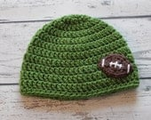 Football Hat, Crochet Sports Hat, Children's Hat, 6-12 Months, Ready to Ship!