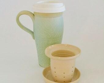 Large Ceramic Travel Mug with Lid and Infuser, IN STOCK,  24 oz Stoneware Loose Tea Mug, Tea Mug Gift Set, Commuter Mug with Tea Diffuser